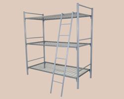 Кровать металлическая 3-ярусная с лестницей сетка с ячейкой 100х100 из проволоки 4мм