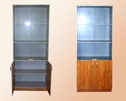 Шкаф офисный для документов полуоткрытый со стеклом